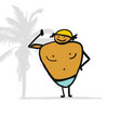 big man on the beach sketch for your design vector image vector image