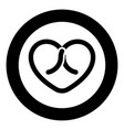 bow tied heart icon in circle round black color vector image vector image