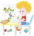 boy doing homework after his game with toys vector image vector image