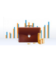 briefcase with stacks golden coins business vector image