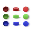 caps in red blue green colors for plastic vector image vector image