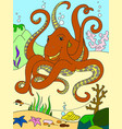 color cartoon animal friends in nature underwater vector image