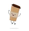 cute cartoon cardboard coffee cup vector image