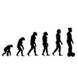 evolution theory from monkey to man on scooter vector image vector image