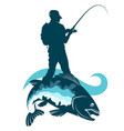 fisherman with fishing rod and fish on a hook vector image