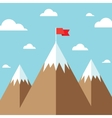 flag on mountain success goal achievement vector image