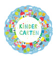 Frame for kindegarten banner with funny town trees vector image