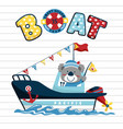 funny sailor cartoon with a boat vector image