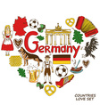 German symbols in heart shape concept vector image