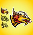 gold dragon emblem logo vector image vector image