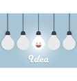 Hanging light bulbs with glowing one Bright idea vector image vector image