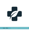 health care cross and leaf icon logo template vector image vector image