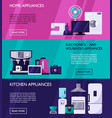 home appliances horisontal banners concept page vector image