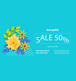 horizontal paper flower sale banner vector image vector image