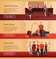 hotel personnel flat banners vector image vector image