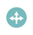 icon three way direction arrow in color circle vector image vector image
