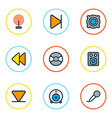 media icons colored line set with broadcast arrow vector image vector image