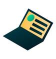 open laptop icon isometric style vector image
