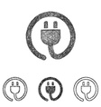 Plug icon set - sketch line art vector image vector image