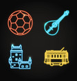 portuguese culture icon set in glowing neon style vector image