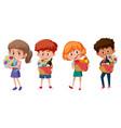 set different kids holding picnic element vector image vector image