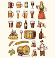 set of beer glass mug or bottle of oktoberfest vector image vector image