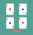 set of four aces playing cards vector image vector image