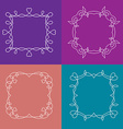 Set outline frames with floral and love