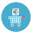 shopping cart with list icon web button on round vector image