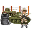 Soldier holding gun and two military tanks vector image vector image