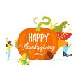 thanksgiving symbols with people silhouettes vector image