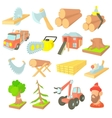 Timber industry icons set cartoon ctyle vector image vector image