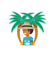 tourist man with hat and palms vector image