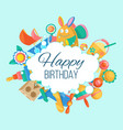 toy set for baby birthday card banner vector image vector image