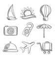 Travel and tourism sketched icons set vector image