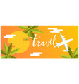 travel plane coconut tree sunset background vector image