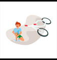 unhappy boy after a bicycle accident vector image vector image