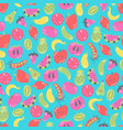 vegan seamless pattern flat fruits and vegetables vector image vector image