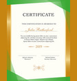 vertical certificate template with sample text and vector image