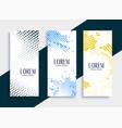 vertical halftone banners card set design vector image