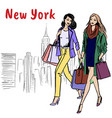 women walking in new york vector image