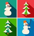 Christmas long shadow icons vector image
