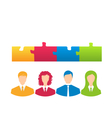 team of business people with jigsaw puzzle pieces vector image