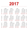 2017 Calendar template Vertical weeks First day vector image vector image