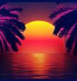 3d sunset on beach retro palms sci fi