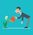 a happy man is watering the flowers vector image