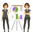beautiful businesswoman standing near flip board vector image vector image