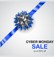 blue and silver bow with diagonally ribbon and vector image vector image