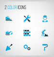 building icons colored set with excavator wall vector image vector image