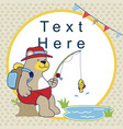 cartoon of fishing time with cute bear vector image vector image